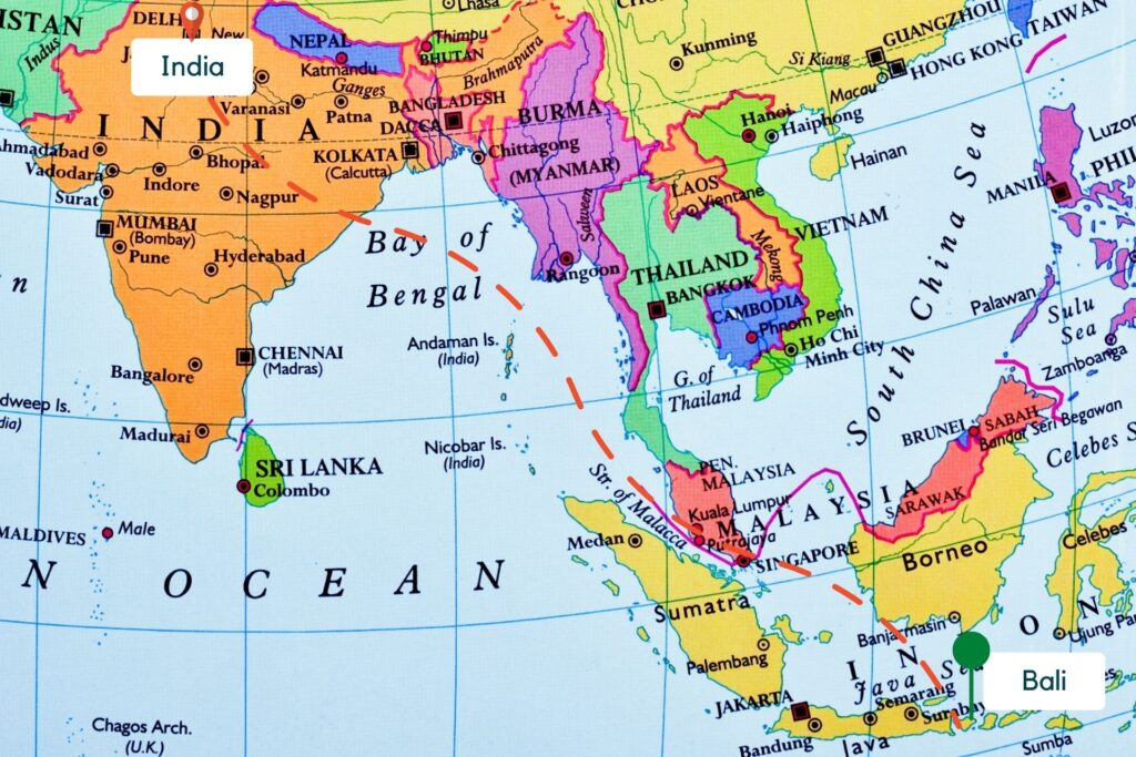 India to Bali Map